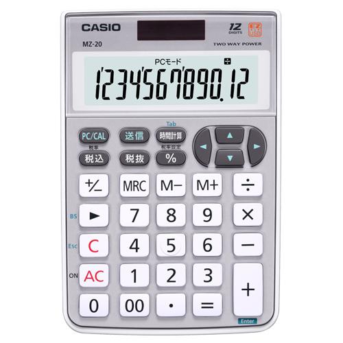 カシオ テンキー電卓 12桁 ミニナイスサイズ MZ-20-SR-N 1台