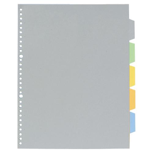 キングジム 透明ポケット用カラーインデックス(多穴) A4タテ 2・30穴 5色5山 7907P 1組