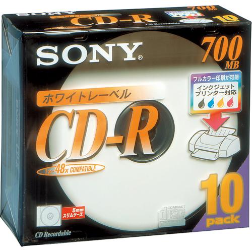 ソニー データ用CD-R 700MB 48倍速 ホワイトプリンタブル 5mmスリムケース 10CDQ80DPWS 1パック(10枚)