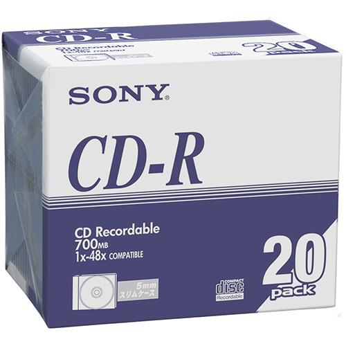 ソニー データ用CD-R 700MB 48倍速 ブランドシルバー 5mmスリムケース 20CDQ80DNA 1パック(20枚)