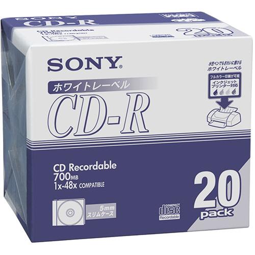 ソニー データ用CD-R 700MB 48倍速 ホワイトプリンタブル 5mmスリムケース 20CDQ80DPWA 1パック(20枚)