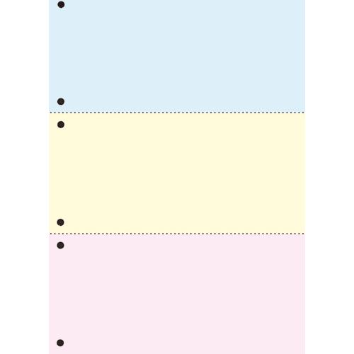 TANOSEE 汎用マルチタイププリンタ帳票 カラー用紙 A4 3分割 6穴 1箱(2500枚:500枚×5冊)