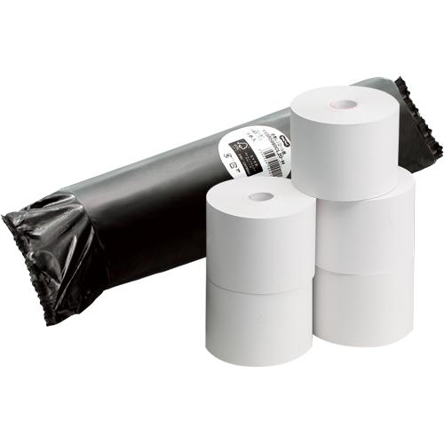 TANOSEE FSC認証レジ用感熱ロール紙 コアレスタイプ 中保存 幅58mm×長さ63m 直径80mm 1パック(5巻)