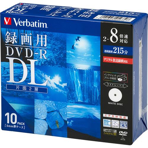 三菱化学メディア 録画用DVD-R DL 215分 2-8倍速 ホワイトワイドプリンタブル 5mmスリムケース VHR21HDSP10 1パック(10枚)