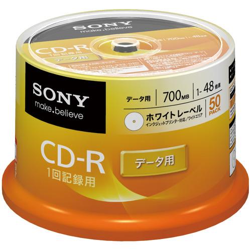 ソニー データ用CD-R 700MB 48倍速 ホワイトワイドプリンタブル スピンドルケース 50CDQ80GPWP 1パック(50枚)
