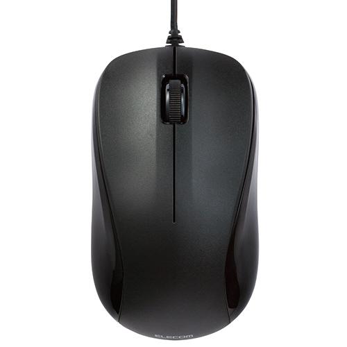 TANOSEE USBレーザーマウス 3ボタン Mサイズ ブラック M-S2ULBK/RST 1個