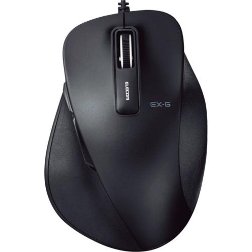 エレコム EX-G 有線BlueLEDマウス Lサイズ ブラック M-XGL10UBBK 1個