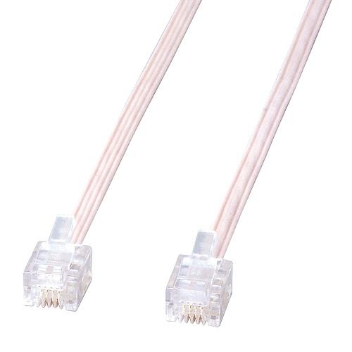 TANOSEE 電話ケーブル 6極4芯 白 5m 1本