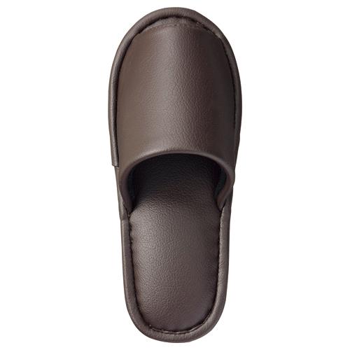 TANOSEE 最高級レザー調スリッパ 外縫い 大人用 ブラウン 1足