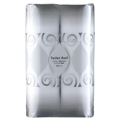 TANOSEE トイレットペーパー パルプブレンド シングル 芯あり 55m 1パック(12ロール)