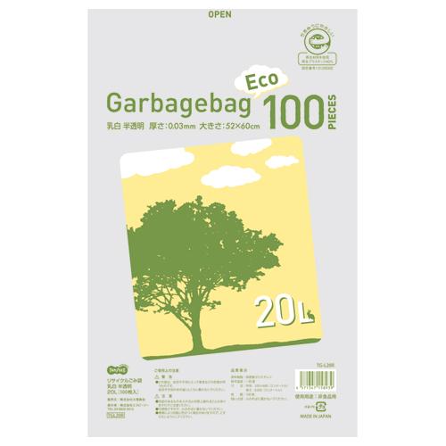 TANOSEE リサイクルごみ袋 乳白半透明 20L 1パック(100枚)