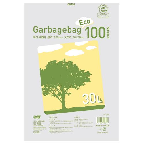 TANOSEE リサイクルごみ袋 乳白半透明 30L 1パック(100枚)