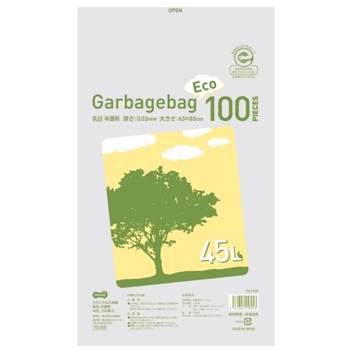TANOSEE リサイクルごみ袋 乳白半透明 45L 1パック(100枚)