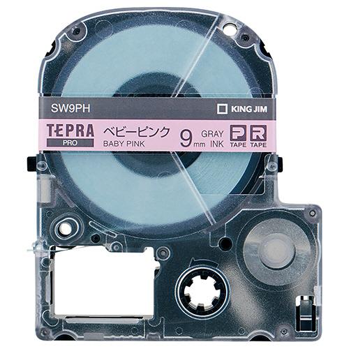 キングジム テプラ PRO テープカートリッジ ソフト 9mm ベビーピンク/グレー文字 SW9PH 1個