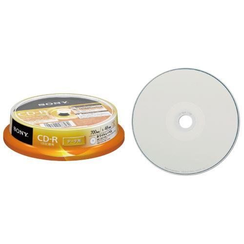 ソニー データ用CD-R 700MB 48倍速 ホワイトワイドプリンタブル スピンドルケース 10CDQ80GPWP 1パック(10枚)