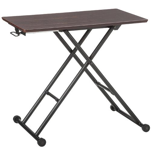 YAMAZEN 突板昇降テーブル ダークブラウン/ブラック HGL-8050DBRBK 1台
