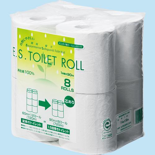 太洋紙業 トイレットペーパー ES シングル 芯あり 90m 1パック(8ロール)