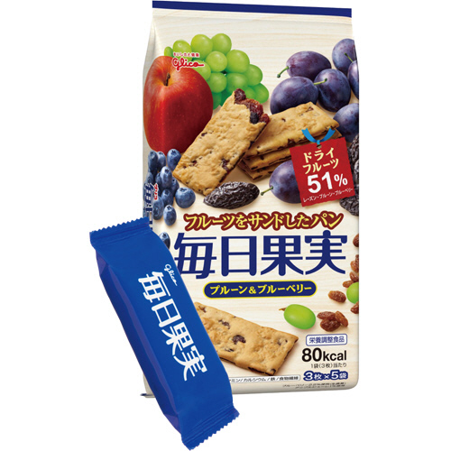 グリコ 毎日果実 プルーン&ブルーベリー 3枚/袋 1パック(5袋)