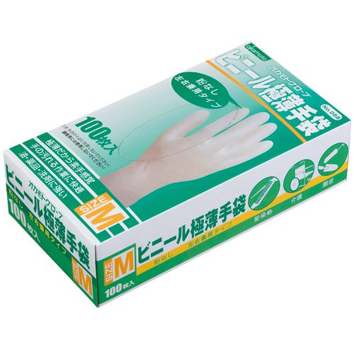 オカモト ビニール極薄手袋 粉なし M 1箱(100枚)
