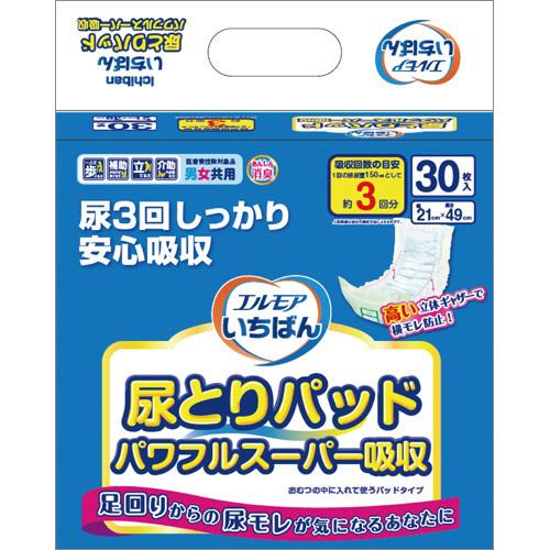 カミ商事 エルモア いちばん 尿とりパッド パワフルスーパー吸収 1パック(30枚)