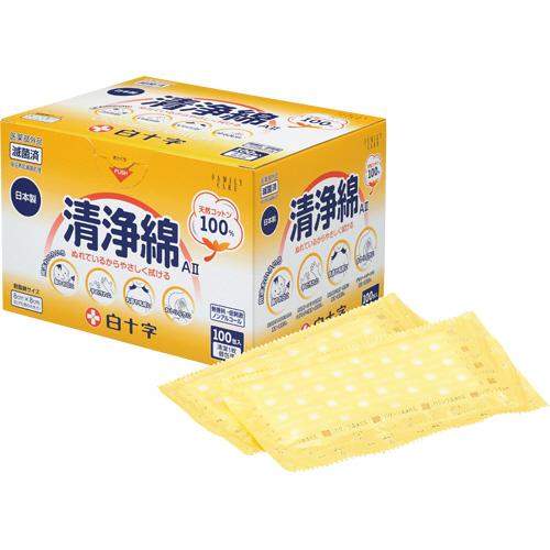 白十字 ハクジウ 清浄綿AII 181411 1箱(100包)