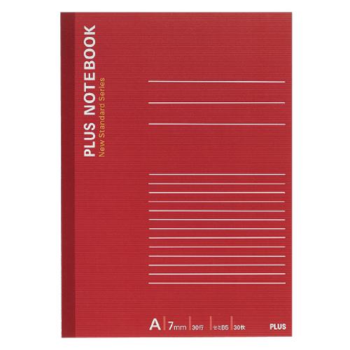 プラス ノートブック セミB5 A罫7mm 30枚 レッド NO-003AS 1冊
