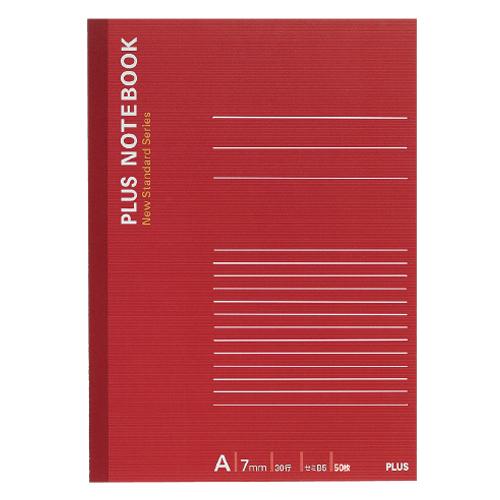 プラス ノートブック セミB5 A罫7mm 50枚 レッド NO-005AS 1冊
