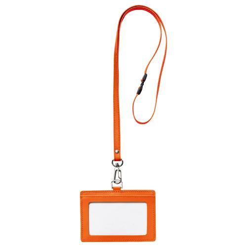 フロント 本革製ネームカードホルダー ヨコ型 ストラップ付 オレンジ RLNH-E-O 1個