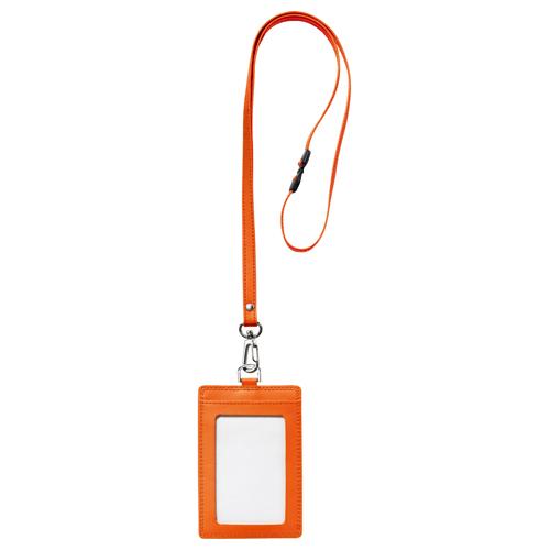 フロント 本革製ネームカードホルダー タテ型 ストラップ付 オレンジ RLNH-S-O 1個