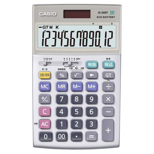 カシオ 本格実務電卓 12桁 ジャストタイプ JS-20DT-N 1台