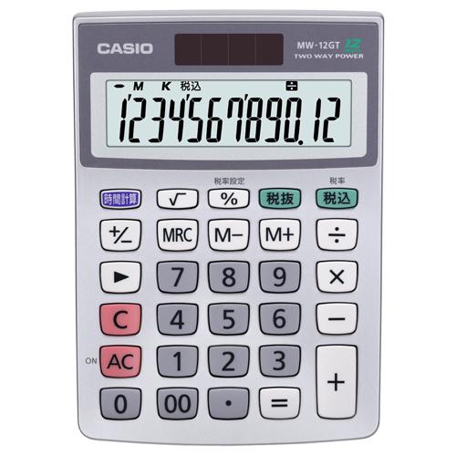 カシオ 特大表示電卓 12桁 ミニジャストサイズ MW-12GT-N 1台