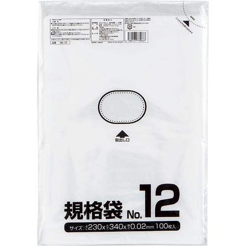 クラフトマン 規格袋 12号 ヨコ230×タテ340×厚み0.02mm HKT-006 1パック(100枚)