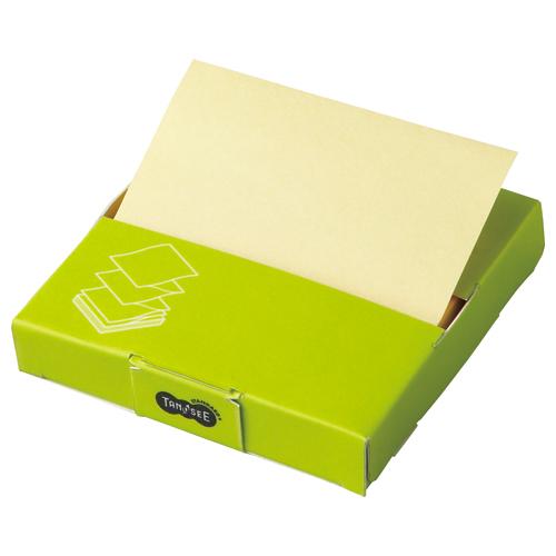 TANOSEE 片手で取れるポップアップふせん 紙箱付 75×75mm イエロー 1冊