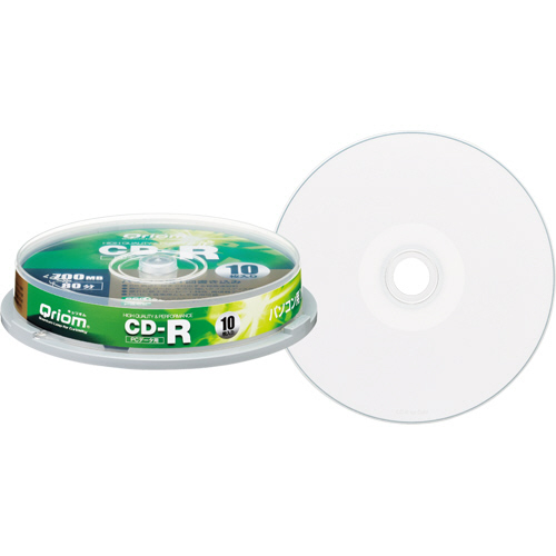 YAMAZEN Qriom データ用CD-R 700MB 52倍速 ホワイトワイドプリンタブル スピンドルケース QCR-D10SP 1パック(10枚)