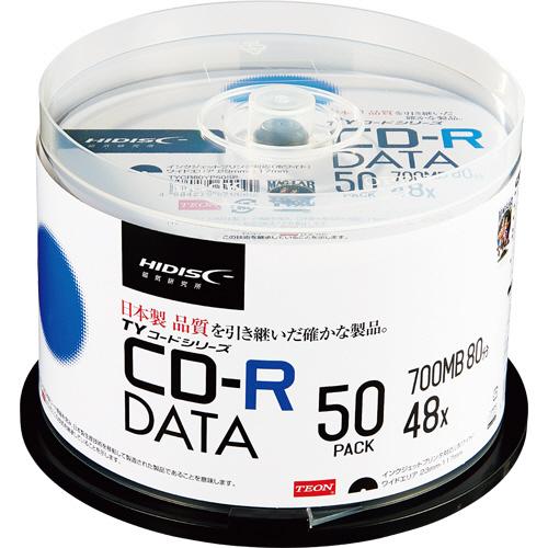 ハイディスク データ用CD-R 700MB 2-48倍速 ホワイトワイドプリンタブル スピンドルケース TYCR80YP50SP 1パック(50枚)
