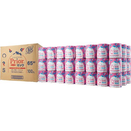 コアレックス トイレットペーパー プリオールマックN 個包装 シングル 芯あり 65m 1ケース(100ロール)