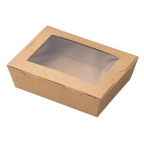 水野産業 窓付きランチボックス (XS) クラフト 1パック(50枚)