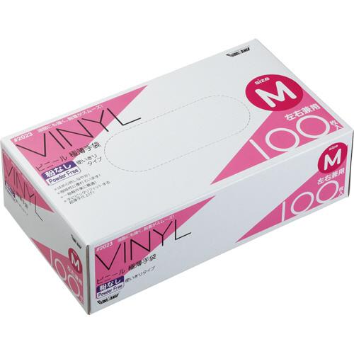 川西工業 ビニール極薄手袋 粉なし M #2023 1箱(100枚)