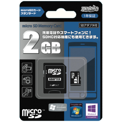 ハイディスク microSDカード 2GB SD変換アダプター付 HDMCSD2GCLJP 1枚