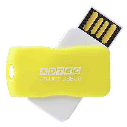 アドテック USB2.0 回転式フラッシュメモリ 8GB イエロー AD-UCTY8G-U2T 1個