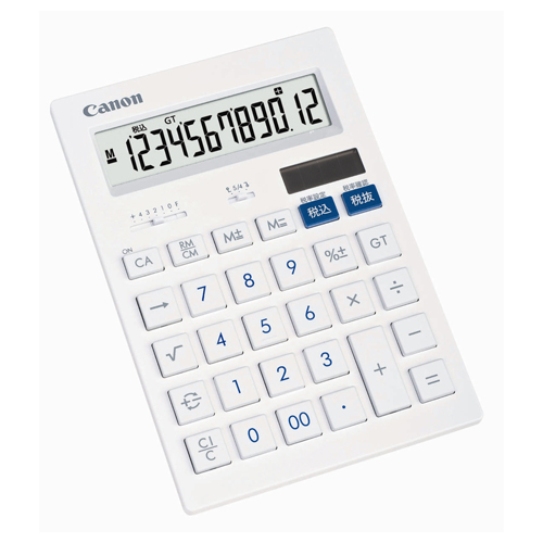 キヤノン 抗菌キレイ電卓 HS-1201T SOB 12桁 大型 ホワイト 3443B002 1台