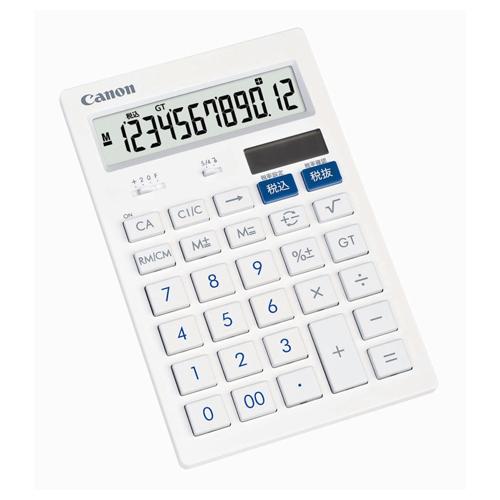 キヤノン 抗菌キレイ電卓 HS-121T SOB 12桁 中型卓上タイプ ホワイト 3442B001 1台