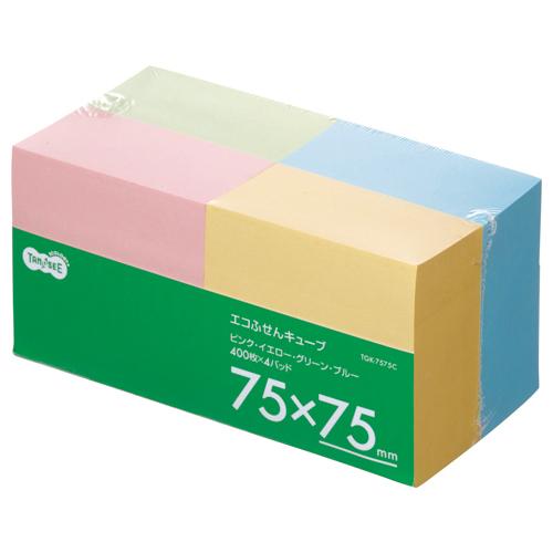 TANOSEE エコふせん キューブ 75×75mm 4色 1パック(4冊)