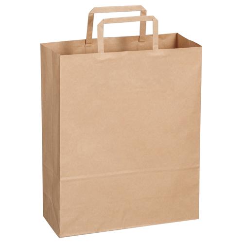 TANOSEE 紙手提袋 平紐 小 ヨコ260×タテ320×マチ幅100mm 茶無地 1パック(30枚)