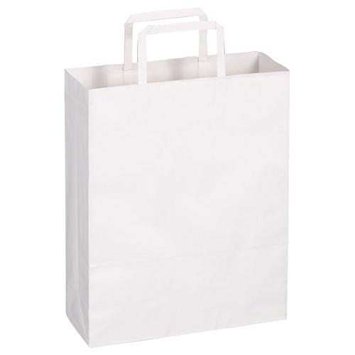 TANOSEE 紙手提袋 平紐 小 ヨコ260×タテ320×マチ幅100mm 白無地 1パック(30枚)