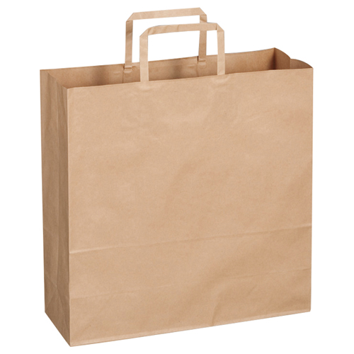 TANOSEE 紙手提袋 平紐 中 ヨコ320×タテ320×マチ幅115mm 茶無地 1パック(30枚)