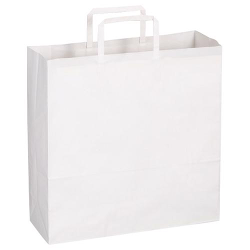 TANOSEE 紙手提袋 平紐 中 ヨコ320×タテ320×マチ幅115mm 白無地 1パック(30枚)
