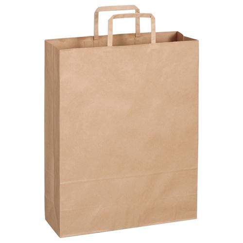 TANOSEE 紙手提袋 平紐 大 ヨコ320×タテ400×マチ幅115mm 茶無地 1パック(30枚)