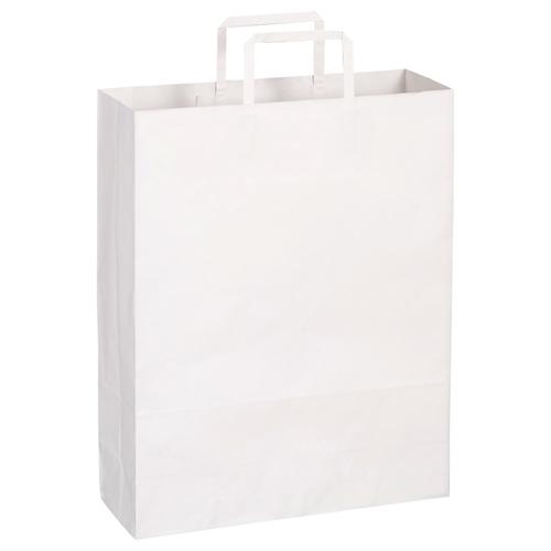 TANOSEE 紙手提袋 平紐 大 ヨコ320×タテ400×マチ幅115mm 白無地 1パック(30枚)