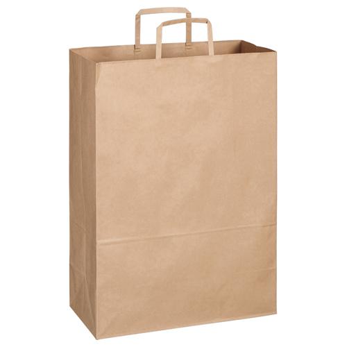 TANOSEE 紙手提袋 平紐 特大 ヨコ340×タテ480×マチ幅170mm 茶無地 1パック(30枚)